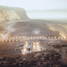 Künstlerische Darstellung der Wand- und Talabschnitte des Nüwa-Konzepts an den Klippen der Mesa Terra