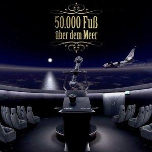 Der Introbildschirm der SOFIA Planetariumsshow, zu sehen in einer Planetariumskuppel