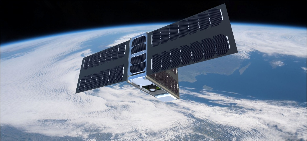 CubeSat EIVE displayed in the Earth's orbit (c)